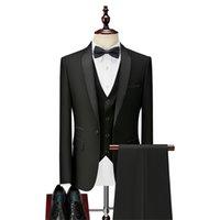 3 Parça Erkek Arkadaşı Erkekler Slim Fit Düğün Smokin için Suits Siyah Örgün Damat Suit Set Ceket Pantolon Yelek Hazır Stokta Y201123