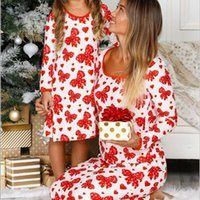 New Christmas Mommy And Me Sleepwear Dress Family Look Matching Clothes Outfits Long Sleeve Xmas Mom Daughter Babby Girl Party