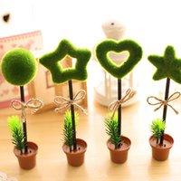 5 قطعة / الوحدة الكورية الإبداعية القرطاسية الأخضر الرعوية الجدول الجدول الأعلى القلم الأواني جولة زهرة وعاء التصميم القلم لطيف سهل الاستخدام