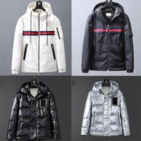 Stickerei Letters Fashion Daunenjacke Men Outdoor Warm-Feder-Winterjacke mit Daunenfüllung mit Kapuze dicken Mantel Outwear schwarz weiß Jacke Parka