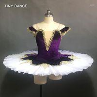 Off Hombro Buricio de terciopelo púrpura oscuro con adornos de oro Tutu Tutu Profesional Ballet Pancake Tutu Ballerina Dance Costume BLL1411