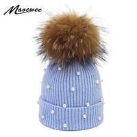 Perlenwolle Mützen Frauen Echt Natürliche Pelz Pom Poms Mode Perle Gestrickte Mütze Mädchen Weibliche Beanie Mütze Pompom Winter Hut Für Frauen