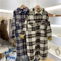 Primavera Turn Down Colletto Donne Cappotto di lana Plaid Plaid Stampa Elegante Giacca in lana Donna Autunno Cappotto lungo Casaco Feminino 201104