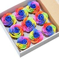 9 Pcs colorido sabão rosa flores decorativas sabão flor pétala casamento favores dia dos namorados arco-íris rosa bouquet1