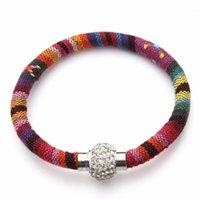 Pulseras de encanto LOULEUR BOHEMIAN Hecho a mano Multicolor MultiColor Imán de cristal pulsera pulsera para mujeres Joyería de cuero étnico1