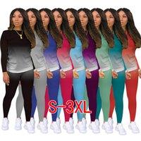 여성 패션 의류 가을 부티크 클래식 캐주얼 캐주얼 솔리드 컬러 그라데이션 긴 소매 2 피스 세트 새로운 도착 목록