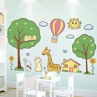 Adesivi murali Cartoon Mouse Mouse Giraffa Anmiale fai da te Albero Decalcomanie per Casa Bambini Camera da letto Baby Room Decorazione