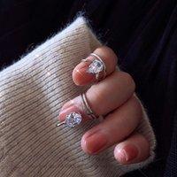 Bom Design Sensor Flash Diamante Diamante Cap de Dedo de Dedo Simples Temperamento Moda Trend Coreano Versátil Acessórios 9