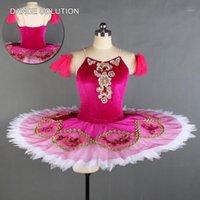 Rose Red Velvet Camisole z sztywną tiulową spódnicą przedprofesjonalnymi baletami Tutu Dziecko Dorosłych Dance Dress Ballerina Costume BLL1301