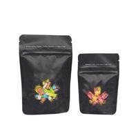 Черный запах Детская доказательство мешок Mylar Stand Up Window Zipper Block Bock Cookies Candy устойчивый к ребенку устойчивый к ухожу