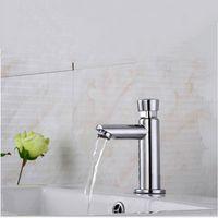 Bagno tempo ritardo rubinetto rame lavabo lavabo singolo acqua fredda rubinetto del tazza igienica touch touch pressa automatica auto-chiusura del salvataggio dell'acqua C0127