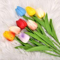Multicolor Tulpen Künstliche Blumen Anordnung Hochzeitsblumensträuße echtes Gefühl PU Tulpen für Home Room Büro Party Hochzeitsdekoration