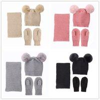 Neugeborene Babys Winter Hüte + Schal + Handschuhe Set Solide Häkeln Beanie Caps 2 Pelz Pom Kids Mützen Mitten 0-3 Jahre Kopfbedeckungen Kostüme LY10301
