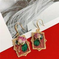 Baumel kronleuchter jouval mode klar acryl getrocknete rose blume tropfen ohrringe für frauen vintage gold square ohrringe brincos weibliche juwelr