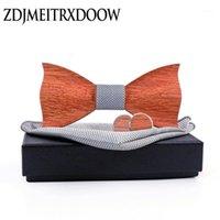 Yay Ties 3D Ahşap Kravat Kol Düğmeleri Set erkek Ahşap Papyon Marka Için Business Neckties Düğün Damat El Yapımı Gömlek Katı Ekose Kravat1