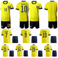 20-21 Sweden Soccer 7 Sebastian Larsson Jersey Set 10 Zlatan Ibrahimovic 11 Alexander Kacaniklic 19 Daleho Irandust Camisa de futebol Kits