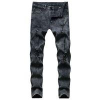 Calças jeans mens Buraco negro Stretchy magro motociclista Slim Fit Denim Men Zipper Pencil Jeans Moda Casual Calças