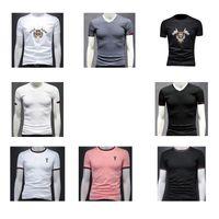 Retro Erkekler T Shirt Erkek S Giyim Essentials Erkek Elbise Gömlek Yaz Kısa Kollu T-Shirt İşlemeli Pamuk Yuvarlak Yaka Boş Zaman M-4X 21