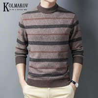 KOLMAKOV Men's New Winter Semi - Turtleneck Sweater Pullover Warm Thickened Pure Wool Sweater Color Matching Upset Male