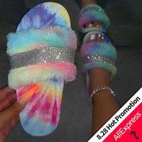Kadınlar Kürk Terlik Bayanlar Kristal Daire Kürk Slaytlar için Kadınlar Kabarık Kadın Ayakkabı Kapalı Kadın' Casual Ayakkabı 2020 YENİ X1020 Parıldarım