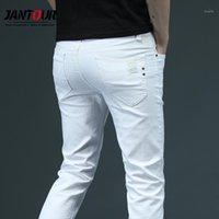 2020 новый классический стиль летние мужские белые узкие джинсы мода мода повседневные бизнес растягивающие джинсовые брюки мужские брюки 28-381