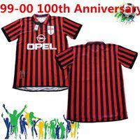 Retro Klasik 99 00 AC Milan 100. Yıldönümü Futbol Formaları Pirlo Maldini Kaka AC 09/10 Retro Futbol Gömlek