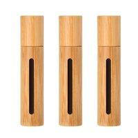 10 ml natuurlijke bamboe hervulbare lege etherische olie parfum geur geur stalen roller balfles voor thuisreizen EA25 64 J2