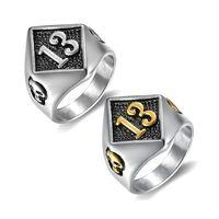 Klaster pierścienie Drop Rozmiar 7-18 Design Motor Biker Lucky Number 13 Pierścień 316L Ze Stali Nierdzewnej Mężczyźni Chłopcy Cool Man Skull