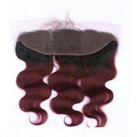 Wein Red Ombre Virgin Indische Haarfunktionen mit Spitze Frontal Body Wave 1b 99J Burgund Ombre 13x4 Vollspitze Frontal mit 3bundles