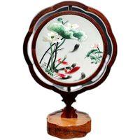 Vintage chinesische Tischlampe Hauptdekorationen Schlafzimmer Ornament Leseschreibtischlampe Silk Handarbeit Stickerei Doppel Muster mit Holzrahmen