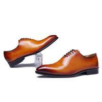 Chaussures de robe Zapatos de Vestir Marrones Para Fiesta Boda Confordones Oxford Corte Entero Hombres Cuero Véritable Clasico Marca1