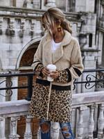 Frauen-Leopard-Stich-Plüsch-Jacken-Mantel-Mode-Herbst-Winter-lange Art Tasche Beiläufiges Teddy Thick Outwear Weiblich CS2289