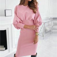 Женский элегантный сексуальный сплошной цвет bodycon платье повседневная o шеи с длинным рукавом высокая талия стройная длинная осень зима новые женские топы