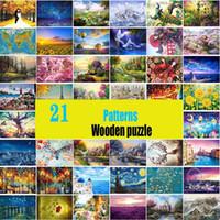 Jigsaw Picture Puzzles 1000 조각 성인을위한 교육용 나무 장난감 어린이 게임 뇌 티저 Y200421