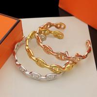 Europa América estilo estilo dama mujer titanio acero grabado h iniciales abiertas brazalete pulseras 3 colores