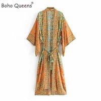 Vintage şık kadınlar sarı Çiçek Baskı Sashes Kimono Bayanlar V Yaka Kollu Boho Maxi elbise elbise BATWING Bohemian