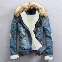 Plus Size 2020 inverno quente Denim Jacket Men Vestuário Jeans Brasão Men Casual Exteriores Com Pele de lã Collar grossas roupas