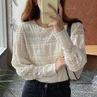 Kore Chic Yuvarlak boyun Kanca çiçek bluz Sonbahar Kadınlar dantel Dikiş Long'un kollu Hollow gömlek blusa Feminina Tops