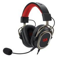 Redragon H710 Helios USB Auriculares de juego con cable 7.1 Suelo envolvente Pista de espuma de espuma de espuma de 50 mm Accionamiento extraíble Micrófono Auriculares de juego