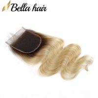 Brezilyalı Bakire Saç Sarışın Dantel Kapaklar 4x4 Vücut Dalga İnsan Saç Kapatma 1B 613 Ücretsiz Bölüm Top Kapaklar Ön Kopardı Bella Saç