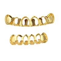 Neuf argent argent creux ouvert dlampnd coupé 6 dents supérieure de fond grils dents bouchons de dents hiphop grillz ensemble bijoux de fête 270 J2