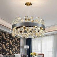 Neue moderne Kristall Kronleuchter für Wohnzimmer Sonnenblume Design Runde LED Cristal Glanz Home Decor Gold / Schwarz Innenbeleuchtung