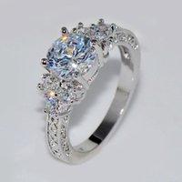 حلقات العنقودية 925 الفضة الاسترليني الدائري على شكل قلب الزركون الزفاف للمرأة هدية مجوهرات عالية