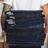 Maden Vintage Mens Denim Jean Big Tall Regular Regular Monde Gamba dritta Raw Sluvege Denim Jeans Blu scuro Pantaloni classici Pantaloni classici TROUS 201223