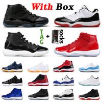 С коробкой высочайшего качества 25-й мужской баскетбольной обуви 11 11s Concord High Low Space Jam Xi Gamma Blue Cap и платье-кроссовки