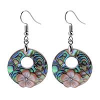 Abalone skal örhänge blå grön påfågelfärger naturliga paua skal sommar smycken rosa blommor 5 par