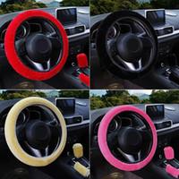 Auto Lenkradabdeckung Getriebe Handbremsabdeckung Protektordekoration Warme super dicke Plüschkragen weiche schwarze rosa Frauen Mann