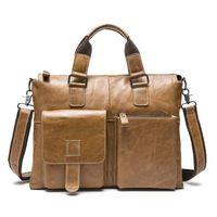 BIg Size Vintage Carzy Horse Genuine Cowhide Leather Men Briefcase Messenger Bag, Luxury Quality Genuine leather men Laptop Bag