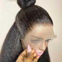 Perulu İpek Üst Tam Dantel İnsan Saç Peruk Doğal Saç Çizgisi ile 180 Yoğunluklu Kinky Düz Tutkalsız Tam Dantel Peruk Remy Saç
