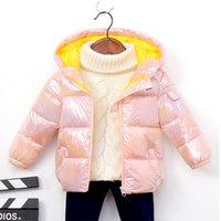 manches longues pour les enfants d'hiver veste en duvet Nouveau garçons et filles lumineux épaissie bas à capuchon de coton enfants veste veste matelassée 1011